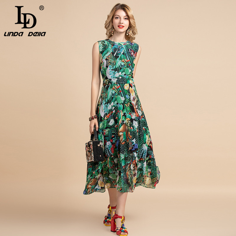 LD LINDA DELLA Elegant Summer Dress Women's Sleeveless High Waist Vintage Animal Jungle Floral Print Elegant Midi Holiday Dress