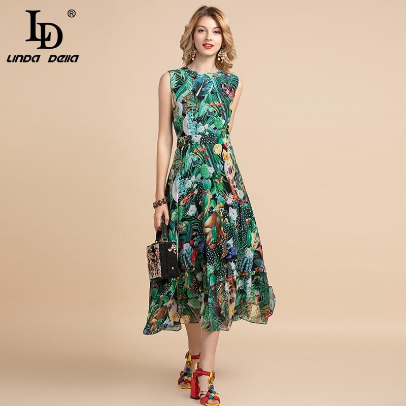LD LINDA DELLA Elegant Summer Dress Women's Sleeveless High Waist Vintage Animal Jungle Floral Print Elegant Midi Holiday Dress