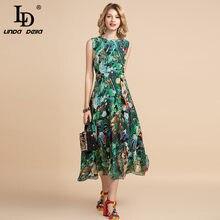 LD LINDA DELLA elegante abito estivo da donna senza maniche a vita alta Vintage Animal Jungle stampa floreale elegante abito da festa Midi