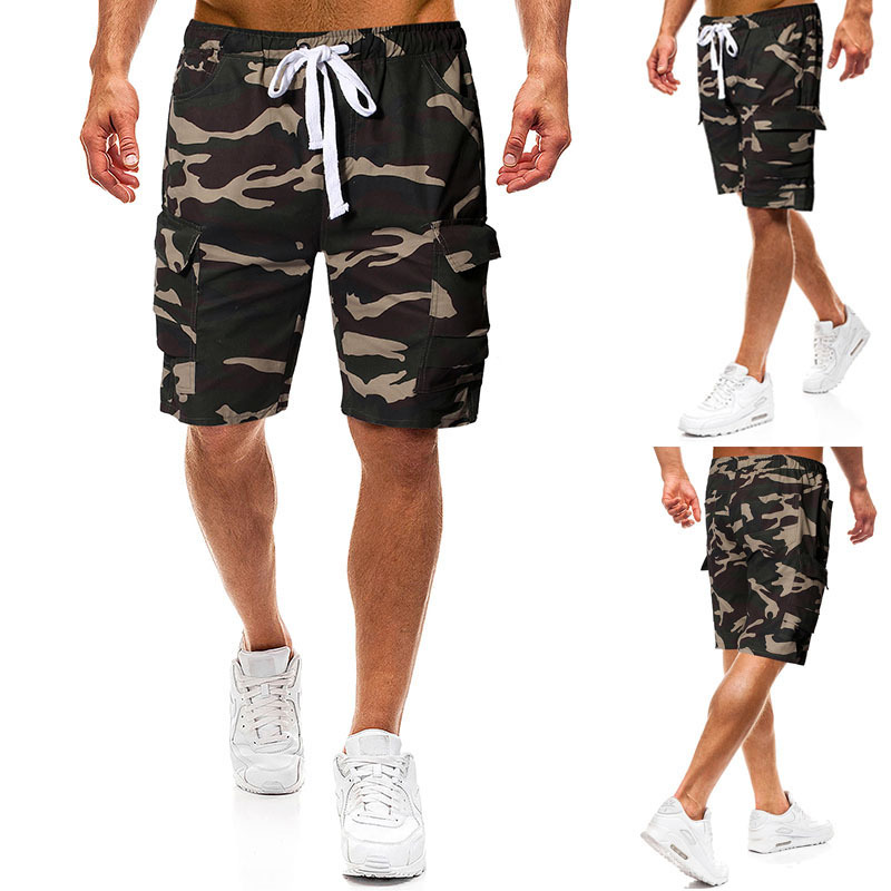 2019 Summer New Style Europe And America Men Fashion With Drawstring Belt Camouflage Workwear MEN'S Casual Shorts