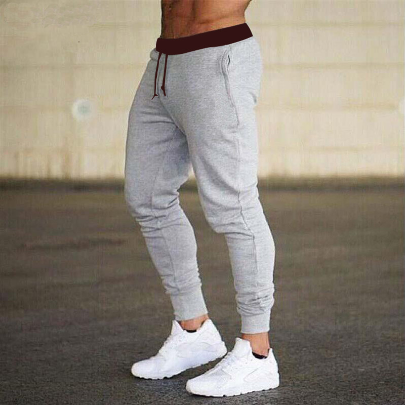 AliExpress 2019 Hot Selling Europe And America Casual Gymnastic Pants Solid Color Slim Fit Fitness Men Jogger Pants
