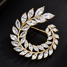 New Temperament simple fashion micro-inlaid zircon brooch female suit coat pin hot sale CH19BRO829