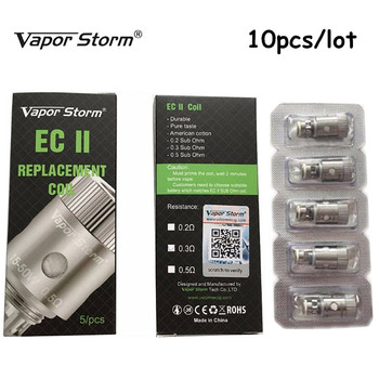 цена на 100% Original 10pcs/lot Vapor Storm Original Electronic Cigarette EC 2 Tank Atomizer E-Cigarette Replacement Atomizer core head