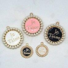 Je T'aime, pendentif couronne en émail, perle ronde, pour bricolage, boucles d'oreilles faites à la main, bijoux, 10 pièces/paquet, 20mm 34mm, XL564