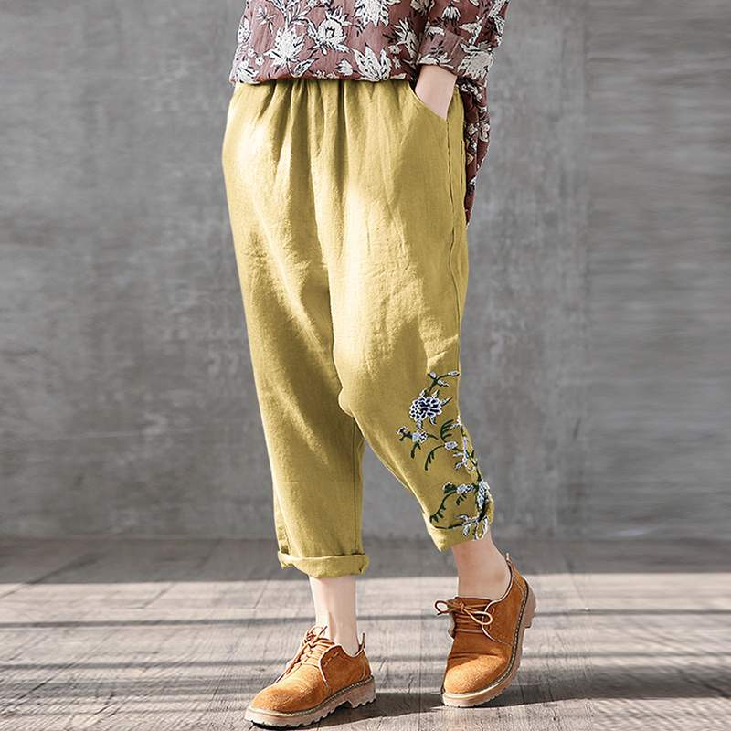 ZANZEA Summer Pants Women Elastic Waist Printed Long Trousers Casual Loose Turnip Pantalon Palazzo Cotton Linen Harem Pants