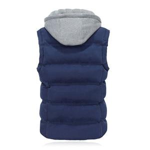 Image 5 - High Quality Men Casual Vest Winter Coat Hat Detachable Men Waistcoat Sleeveless Jacket Solid Outwear Vest Men 4 Colors
