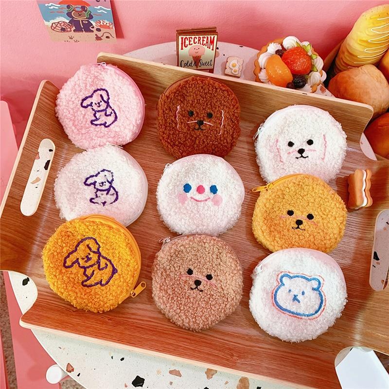 Boxi Cute Bear Plush Purse Toy Cartoon Fluffy Soft Stuffed Dog Coin Bag Kawaii Mini Gift For Birthday For Kids Adults Girl Women