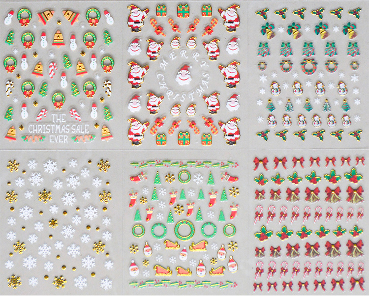 Christmas Adhesive Nail Stickers 24 pcs Wraps, Waterslide Full Decals, Stickers, Snow or Garland