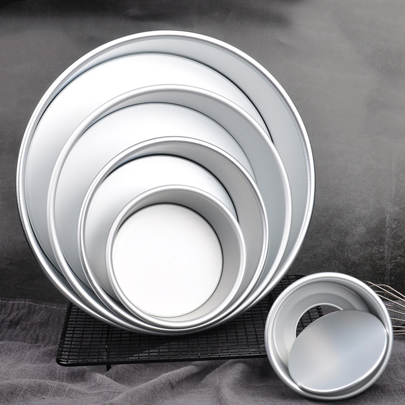 <font><b>Round</b></font> Aluminum Alloy Cake <font><b>Pan</b></font> 13 Different Sizes Non-Stick Cake Mold Bakeware <font><b>Pan</b></font> with Removable Bottom Professional <font><b>Baking</b></font> Tool image