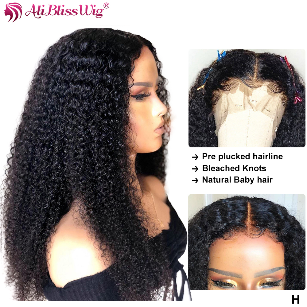 Kinky Curly Human Hair Wigs 13x6 Lace Front Human Hair Wigs For Black Women Pre Plucked Kinky Curly Lace Front Wigs Remy 150%