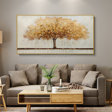 Hand-painted High Quality Abstract Oil Painting on Canvas BROWN yellow Colors large big tree landscape for Wall art
