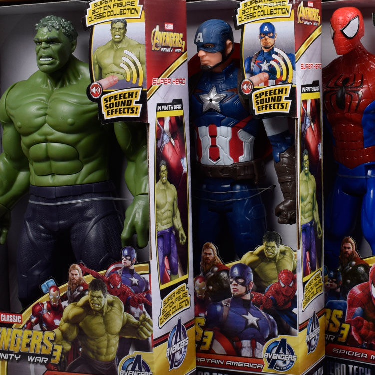 30cm Marvel Avengers Movie Anime Super Heros Captain America Ironman Spiderman Hulk Thor Superhero Action Figure Toys