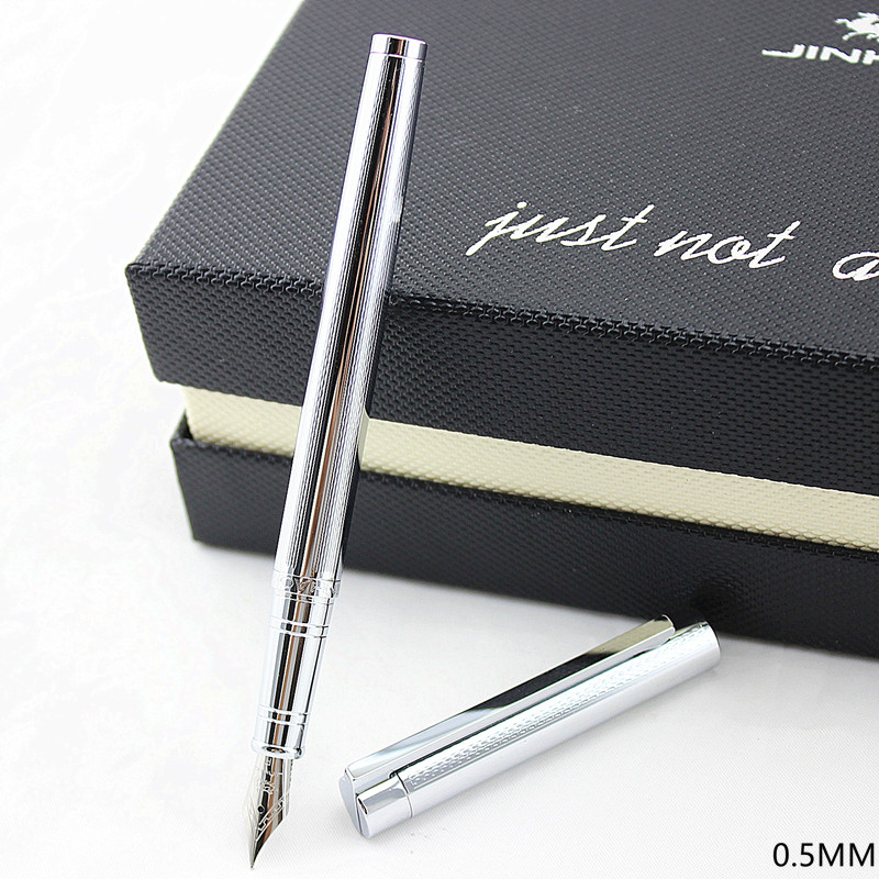 Jinhao 126 Classic Black And Silver Fountain Pen With 0.5mm Iridium Nib The Best Business Gift Pen Metal Ink Pens