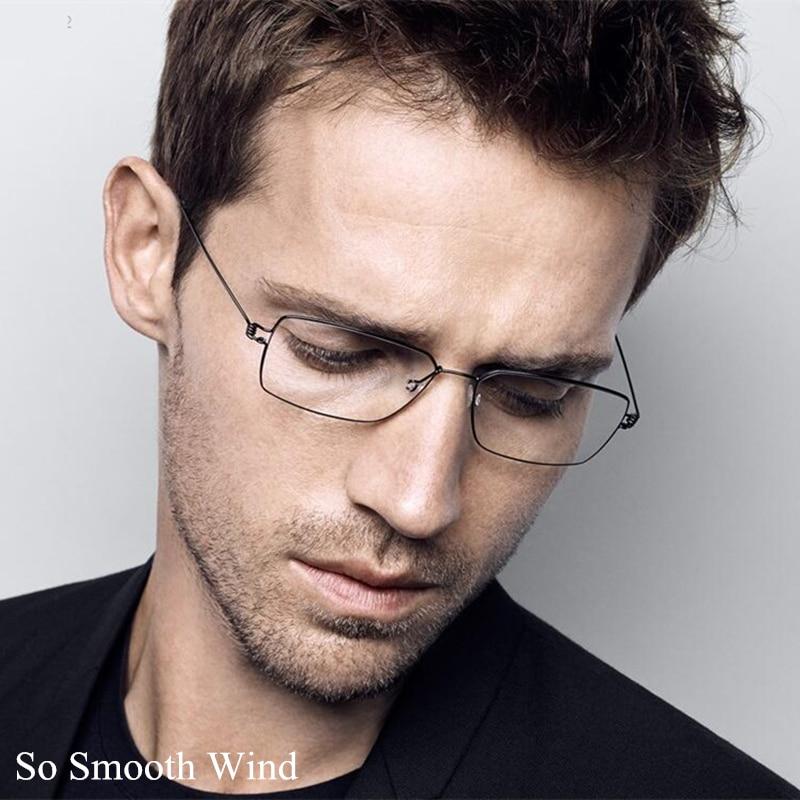 Hand-made Titanium Glasses Frame Men Optical Prescription Eyeglasses for Male Korean No screw Rectangle Glasses Oculos de Grau