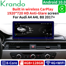 Krando Android 10.0 10.25'' for Audi A4 A5 A4L B8 2017+ car multimedia player stereo with screen som automotivo para carro