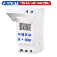 Eletrônico semanal 7 dias programável controle de interruptor do temporizador do relé do tempo de digitas 220v 230v 12v 24v 48v 16a montagem em trilho do ruído thc15a
