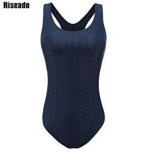 Image 4 - Riseado bañador deportivo de una pieza para mujer, traje de baño de entrenamiento sólido para mujer, traje de baño de espalda