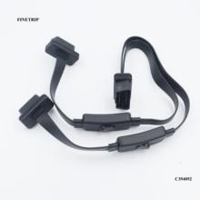 FINETRIPFull 16 pin 2 in 1 OBD2 uzatma kablosu anahtarı ile Y Splitter obd erkek çift dişi adaptör