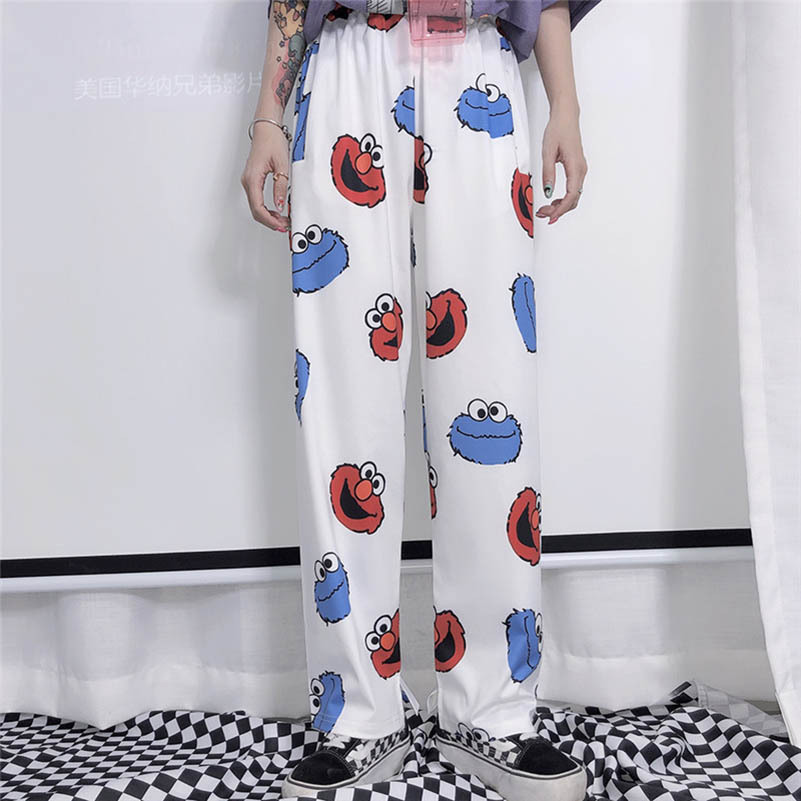 Harajuku Cartoon Printing Kids Lovely Loose Leisure Student Girls Summer Straight Trousers Pant