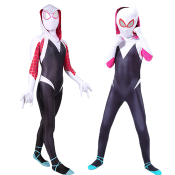 Spider-Gwen Costume Cosplay Hoodie Mask Zentai Into the Spider-Verse women girl Body suit Skin Suits hat mask Halloween 2020 the amazing spider hero cosplay gwen stacy costume spandex zentai mask hoodie spider zentai suit anti gwenom for women girl