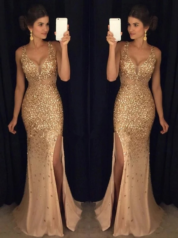 2020 Sexy   Evening     Dress   Sheath/Column V-neck Sequin Sweep/Brush Train Sleeveless Jersey   Dresses   for Party