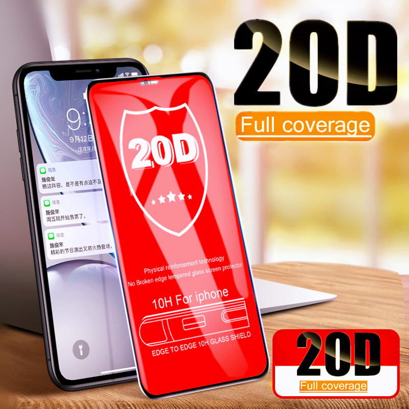 20D Curved Edge Full Cover Protective Glass On The For IPhone 7 8 6 6S Plus Tempered Screen Protector For X XR XS Max Glass Film