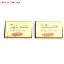 2 sztuk złoty bateria 5C bateria BL5C BL-5C bateria telefonu komórkowego dla Nokia 2610