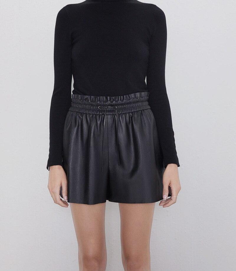 Черная кожаная юбка с поясом и завязками, шорты для девушек, плиссированные однотонные шорты из искусственной кожи с короткими пуговицами