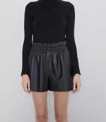 Tie Belted Black Leathe Skirt Shorts Ladies Pleated Solid PU Leather Short Buttoms Mini Shorts Sexy Reflective Women Fashion