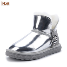 Winter Boots Shoes Lined Ankle Waterproof Casual Women Fur Buckle for Warm INOE Real-Sheep-Fur