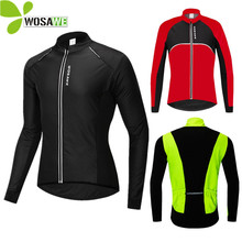 WOSAWE Thermal Winter Cycling Jackets Windproof MTB Bike Wind Jacket Out Sports Chothes PU in Front and Sleeve Waterpoof