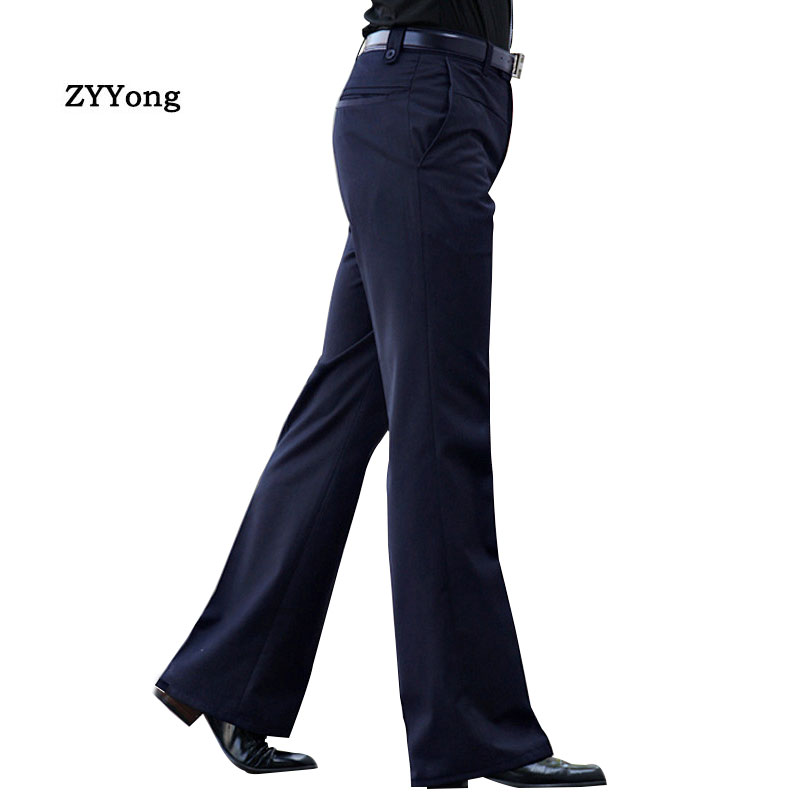 Spring New Flared Boot Cut Trousers  Men's Business Casual Slim Black Suit Pants Large Size 37