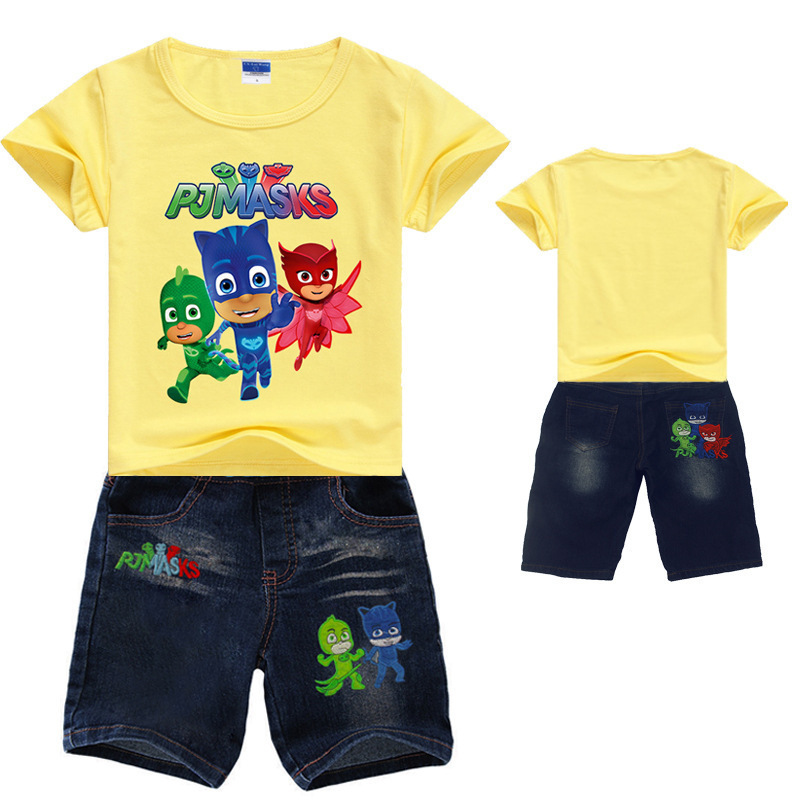 PJ Masks Pajama Children Clothing Set Miki T-Shirt Short Jean Shorts Sports Suit Summer Tracksuit Casual Outfits Boy Clothes Set