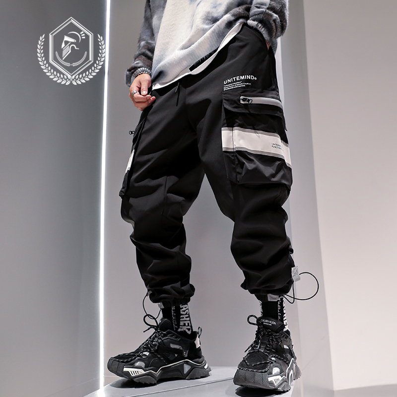 Men Loose Safari Style Jogger Pants Ankle-Length Harem Pants Fleece Heavyweight Cargo Hip Hop Pants