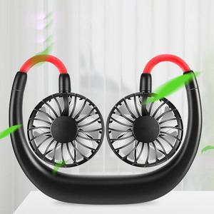 Tour de cou электрическая сеть libres подтяжки libres USB Перезаряжаемый двойной ventilateur Mini refroidisseur d'air été Портативный 2000 мА