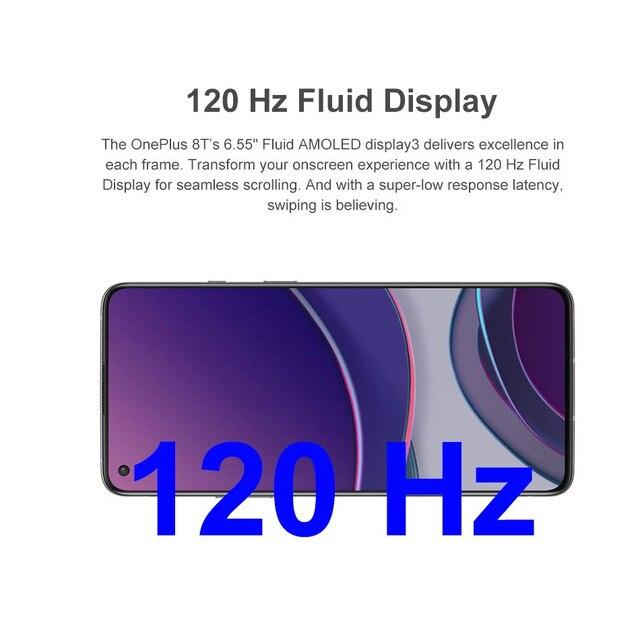 Oneplus 8 T 8 T 5G SmartPhone 120Hz fluide AMOLED affichage Snapdragon 865 65W Charge de chaîne un plus 8 T téléphone portable 2