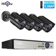 Hiseeu كاميرا تلفزيونات الدوائر المغلقة نظام الأمن عدة 8CH 5MP AHD DVR 4 قطعة في الهواء الطلق مانعة لتسرب الماء فيديو مراقبة عدسة 3.6 مللي متر