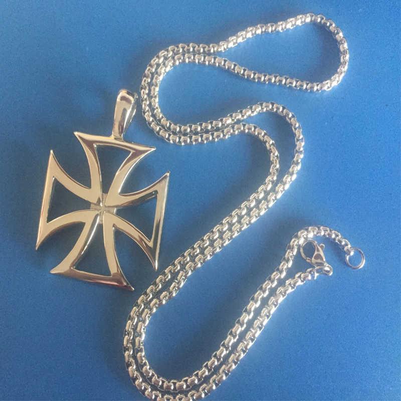 Homens colar de aço inoxidável vintage oco cavaleiros templários cruz de ferro pingente colar para biker maltese cruz jóias