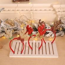 Рождественские повязки на голову с Сантой елкой, лосем, обруч на голову с рогами, детские головные уборы для взрослых, орнамент с оленями, рождественские украшения, вечерние, косплей