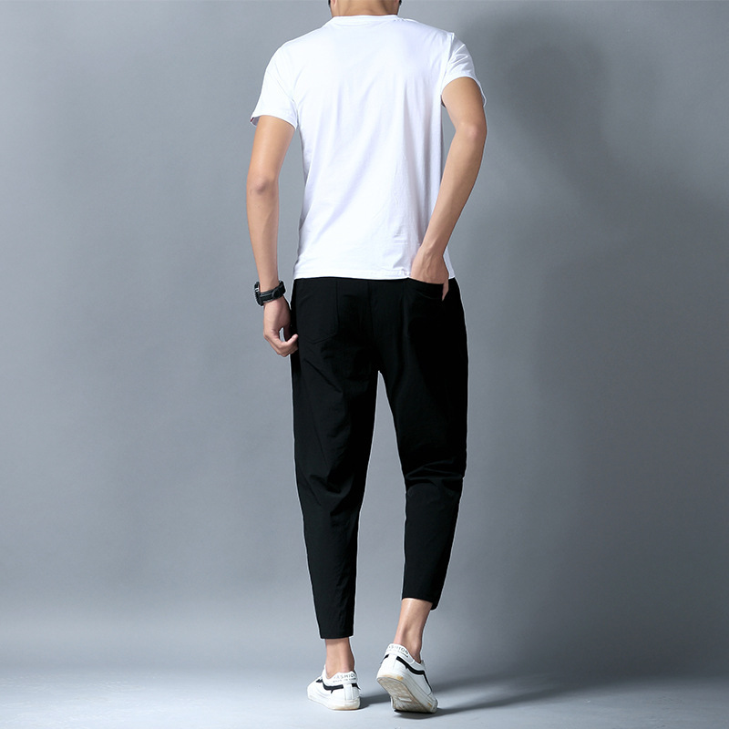 Summer New Style Solid Color T-shirt Men's Casual Running Sports Ninth Pants Slim Fit Short Sleeve Set Men's Two-Piece Set A Set