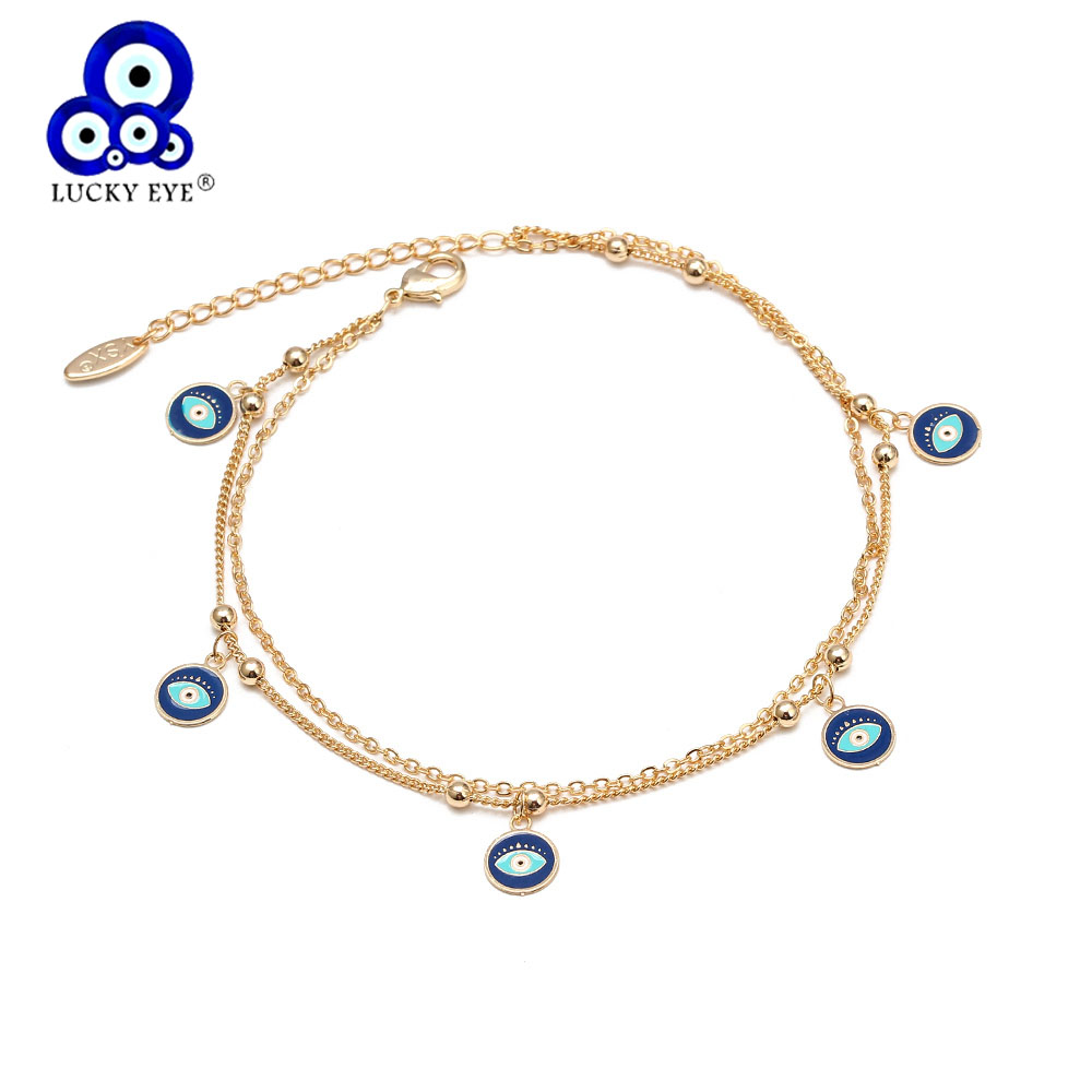 Lucky Eye Flower Star Heart Fatima Hamsa Hand Anklet Gold Color Link Chain Foot Ankle Bracelet Adjustable for Women Girls BD240