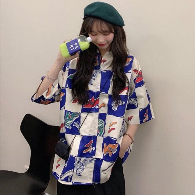 Korean Style Summer Women Blouse Cardigan Button Up Shirt for Ladies Short Sleeve  Ulzzang Harajuku Streetwear Clothes 2