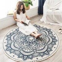 Alfombra para superficie grande de estilo étnico nórdico redondo para dormitorio  Alfombra de algodón tejida Bohemia  alfombra para suelo de Punto 90cm 120cm 150cm
