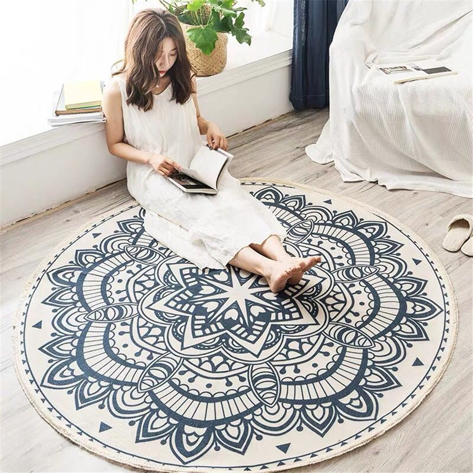 Nordic Ethnic Style Round Large Area Rug For Bedroom Bohemia Woven Cotton Rug Carpet Knitting Floor Mat 90cm 120cm 150cm