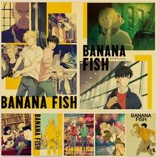Retro Posters Painting Wall-Stickers Room-Decor Kraft-Paper Movie Banana-Fish Prints