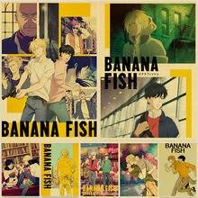 Japon animesi muz balık Retro posterler sanat film boyama Kraft kağıt baskı ev odası dekor duvar çıkartmaları
