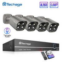 Techage H.265 4CH 5MP POE NVR Kit CCTV sistema de dos vías Audio AI IP Cámara IR al aire libre impermeable Video Vigilancia Conjunto