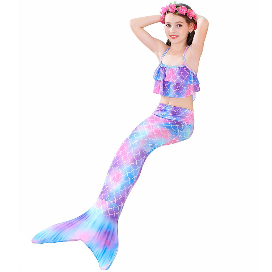H09c420fe9d58438492b9a9b3085381d3b - Kids Swimmable Mermaid Tail for Girls Swimming Bating Suit Mermaid Costume Swimsuit can add Monofin Fin Goggle with Garland