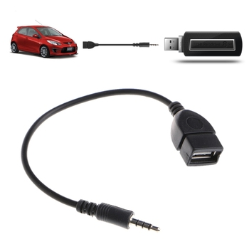 3.5mm Male Plug Jack To USB 2.0 Female Car Stereo AUX Audio Converter Adapter Cable image