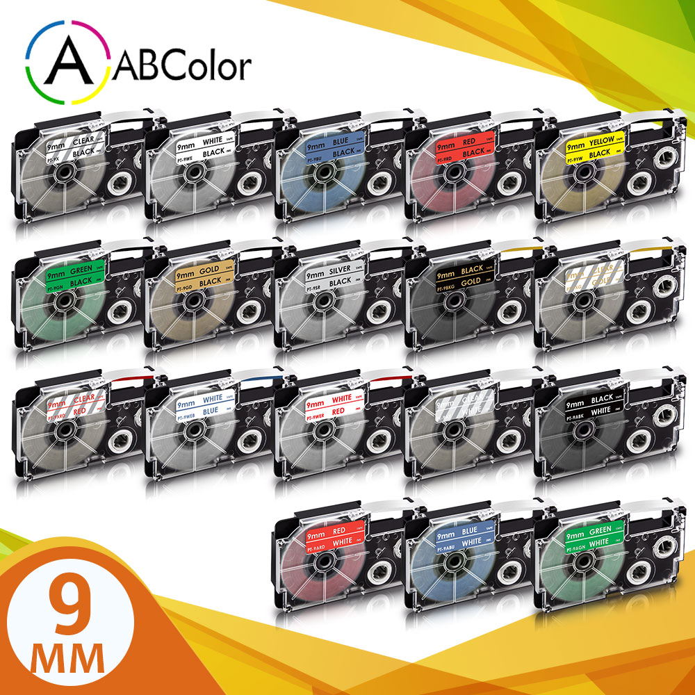 18 Colors XR-9X XR-9WE Label For CASIO XR-9YW Label Tape 9mm Label Cartridge Printer Ribbon For CASI